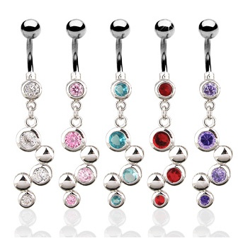 Jewelled Dangle Belly Bar