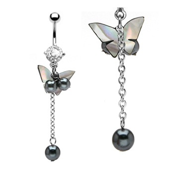 Pearl Butterfly Belly Bar
