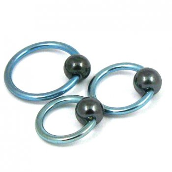 Light Blue Ball Closure Ring- Hematite Ball