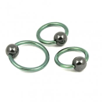 Urban Titanium Ball Closure Ring-Hematite Ball