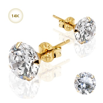 14ct Gold Cubic Zirconia Round Stud Earrings