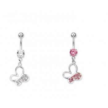 Diamante Butterfly Belly Bar