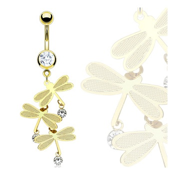 Gold plated Belly Bars Gold Dragonfly Belly Bar