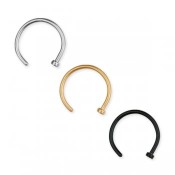 Easy fit 1mm open nose ring, steel, gold, black