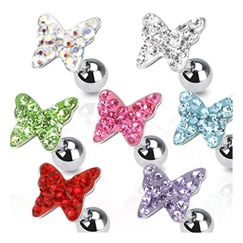Tragus & Helix Body Jewellery Tragus/Cartilage Barbell with multi jewelled Butterfly