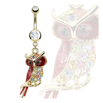Gold plated Belly Bars Gold Plated Multi Coloured Jewelled Owl Belly Bar