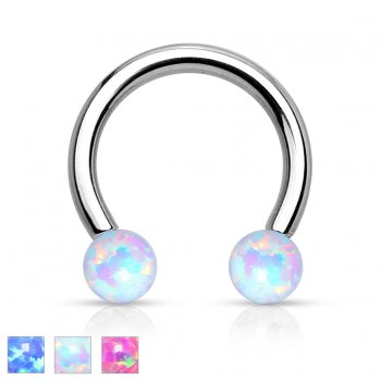 Synthetic Opal Circular Barbell/Horseshoe Surgical Steel