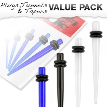 5 Pcs Value Pack of Small Sized Acrylic Stretching Taper Kit with O-Rings