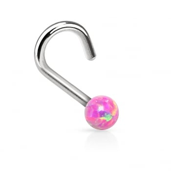 Urban Pink Synthetic Opal Ball Nose Stud Coil