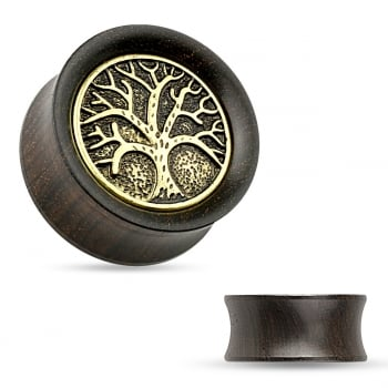 Organic Ebony Wood Saddle Tunnel with Tree of Life Top