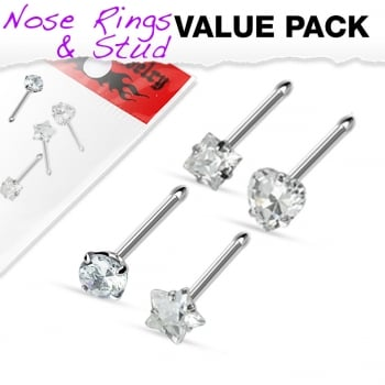 Urban 4 Pack of Nose Stud Bones-Clear Crystal