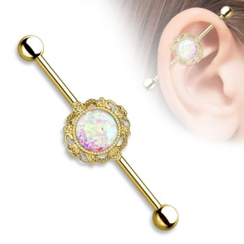 Gold opal glitter scaffold / Industrial Barbell