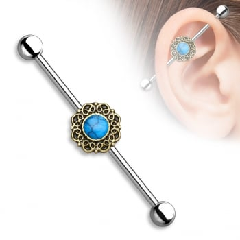 Turquoise and antique gold scaffold / industrial barbell
