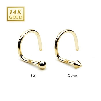Urban 14ct Yellow Gold Nose Coil-Spike/Ball