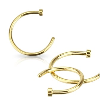 Easy fit 0.6 & 0.8mm open nose ring in gold plate
