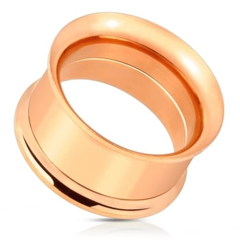 Rose gold plated surgical steel double flared screw-fit tunnel