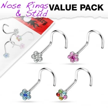 Urban Value pack of 4 daisy gem nose studs