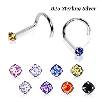 Urban Sterling Silver Prong Set Round Gem Nose Stud Screw.