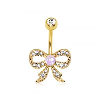 Gold Plated Decorative Sparkling Bow Belly Bar