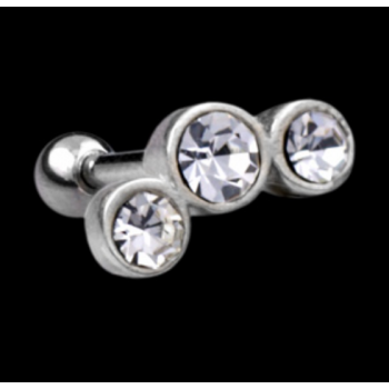 Urban Silver and Triple Gem Cluster Surgical Steel Micro Barbell