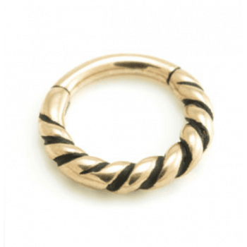 Urban Rose Gold plated on 316L Surgical Steel Twisted Hinged Segement Ring