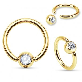 6mm Gold plated Ball Closure Ring with Clear Gem.