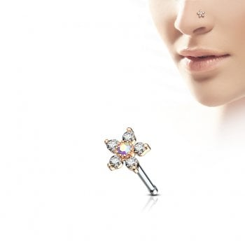 Urban Clear Flower jewelled Nose bone Stud Rose Gold