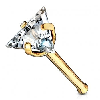 Urban Clear Triangle Gem Nose Stud Bone Stud in Gold