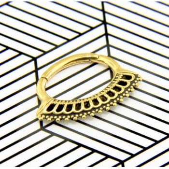Royal 24ct Yellow Gold Plated Surgical Steel Hinged Daith Ring