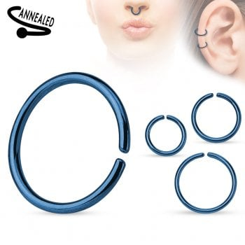Blue Seamless Surgical Steel Ring 0.8mm