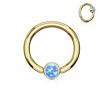 Blue Opal Set Round Flat Cylinder Captive Ring, Gold plated Surgical Steel