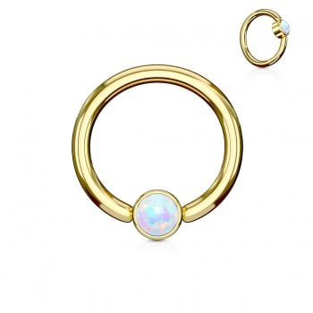 White Opal Set Round Flat Cylinder Captive Ring, Gold plated Surgical Steel