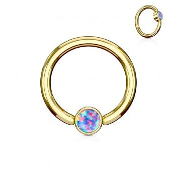 Purple Opal Set Round Flat Cylinder Captive Ring, Gold plated Surgical Steel