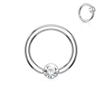 1.2mm Clear Crystal Set Round Flat Cylinder Ball Closure Ring, Surgical Steel