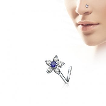 Clear & Blue Flower Nose Stud-L Bend