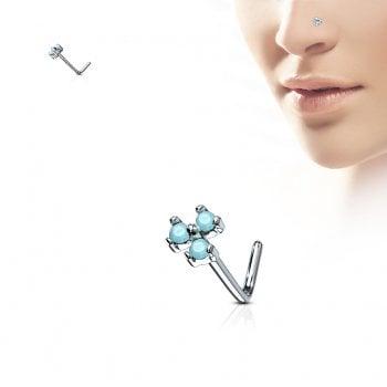 Urban Turquoise Opal Trio Stone Set Surgical Steel L Bend Nose Stud