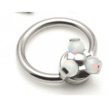Segment Ring Titanium with Flat Internal Opal Disk Trinity
