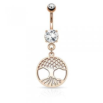 Round Tree of Life Dangle on Prong Round CZ Surgical Steel Navel Ring Rose Gold
