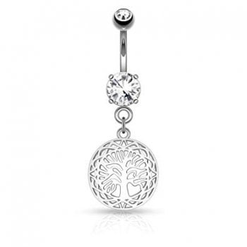 Filigree Edged Round Tree of Life Dangle on Round CZ Prong set 316L Surgical Steel Belly Button Rings
