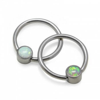 QualTi Cabochon Opal Disc Captive Ring
