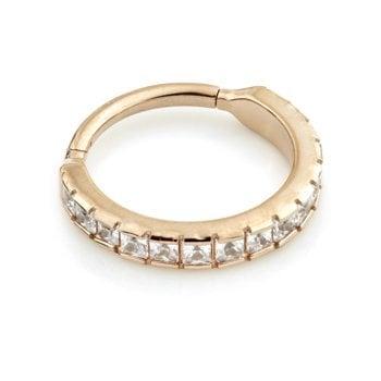 Urban Rose Gold Steel Hinge Flat Jewelled Pavé Conch Ring