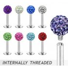 Multi Gem Ferido Internally Threaded Labret Stud/Helix/Tragus Bar