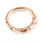 Rose Gold plated Surgical Steel Ring in a Hammered Metal Boho design.