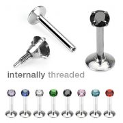 Internally Threaded Prong Set Gem Labret