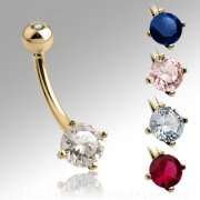 14ct Gold Round Cubic Zirconia Belly Bar
