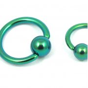 Green Titanium Ball Closure Ring-Titanium Ball