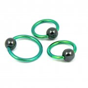 Green Titanium Ball Closure Ring-Hematite Ball