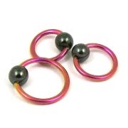 Pink Titanium Ball Closure Ring-Hematite Ball