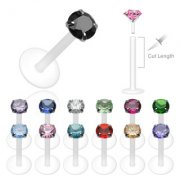 1.2mm Bioflex and Silver Prong Set Gem Labret