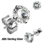 Silver Cubic Zirconia Round Stud Earrings